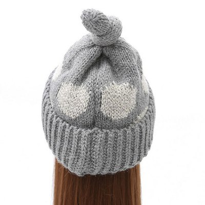 Knot Top Flanging Dot Print Knitted Beanie