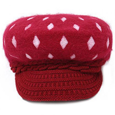 Warm Rhombus Pattern Twist Knitted Beret