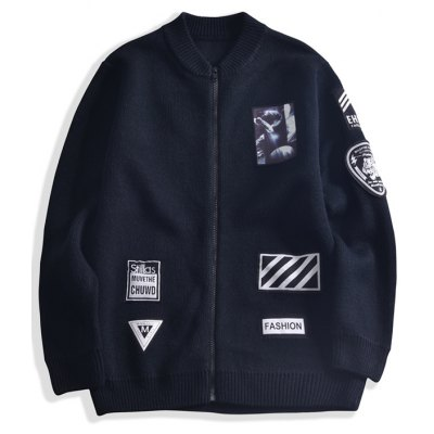Patch Design Zip-Up Stand Collar Jacket