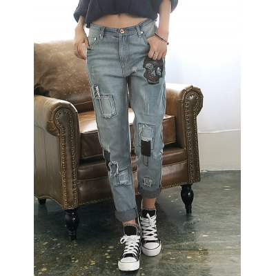 Loose Ripped Skull Patched Jeans