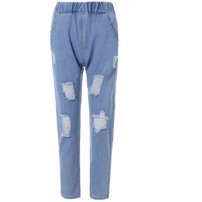 Elastic Waist Ripped Jeans
