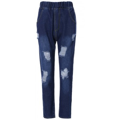 Elastic Waist Ripped Light Jeans