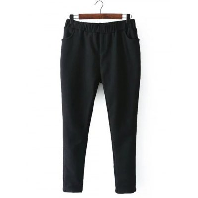 Casual Fleece Narrow Feet Pants