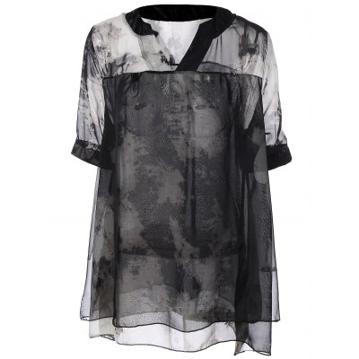 Summer Ink Painting Print Chiffon Blouse