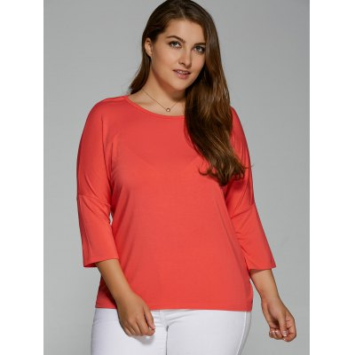 Plus Size Batwing Sleeve High Low T-Shirt