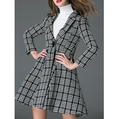 Convertible Checked Wool Blend Coat