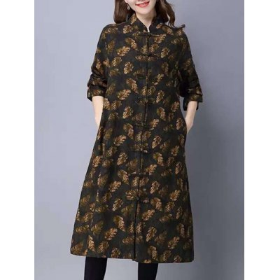 Printed Maxi Coat with Frog buttons
