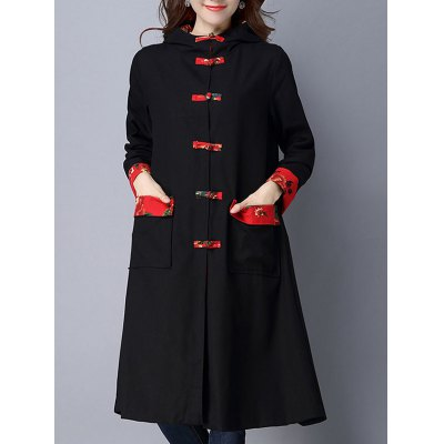 Vintage Chinese Button Hooded Coat