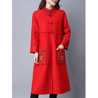 Chinese Button Embroidered Woolen Coat