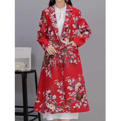 Lapel Floral Print Long Coat