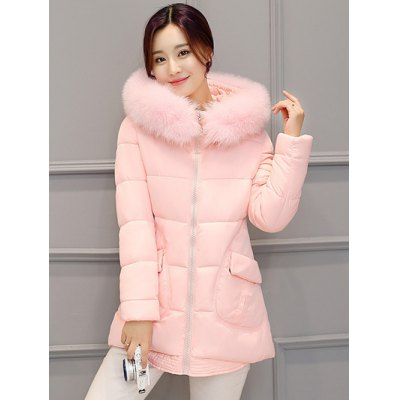 Pocket Padded Coat with Furry HoodJackets &amp; Coats<br>Pocket Padded Coat with Furry Hood<br><br>Clothes Type: Padded<br>Material: Polyester<br>Type: Slim<br>Clothing Length: Long<br>Sleeve Length: Full<br>Collar: Hooded<br>Pattern Type: Solid<br>Embellishment: Pockets<br>Style: Fashion<br>Season: Winter<br>Weight: 1.010kg<br>Package Contents: 1 x Coat