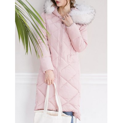 Hooded High Low Long Quilted Coat