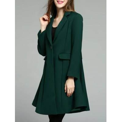 Button Up Lapel Skirted Coat