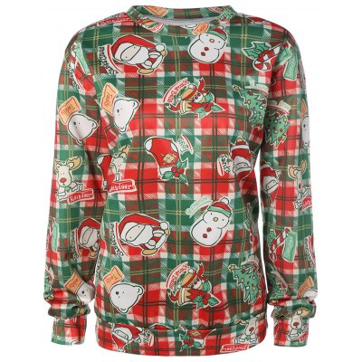 Plaid Christmas Print Sweatshirt