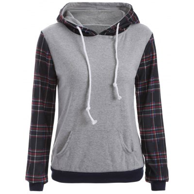 Pocketed Checked Hoodie