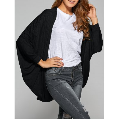 Collarless Batwing Sleeve Asymmetric Cardigan