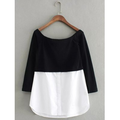 Spliced Off TheShoulder Sweater
