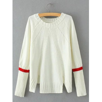 Vintage Slit Ribbed Knitted  Sweater