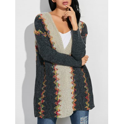 Printed Ethnic Style Loose Cardigan