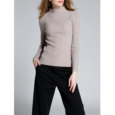 Slimming Mock Neck Ribbed Knitwear