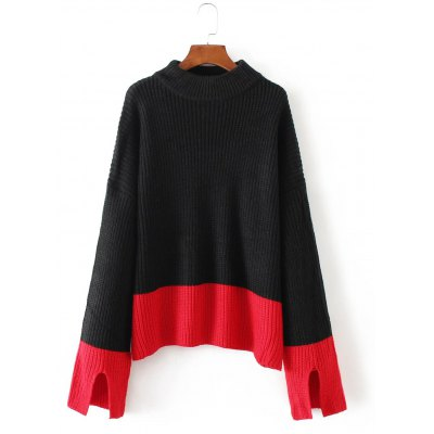 Color Spliced Furcal Pullover Sweater