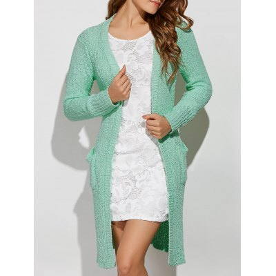 Collarless Pockets Side Slit Cardigan