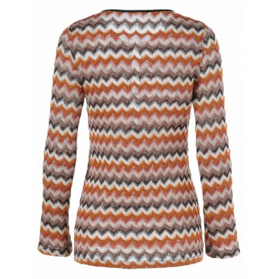 Zigzag Pattern Button Embellished Knitted Pullover