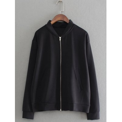 Back Give Letter Embroidered Bomber Jacket