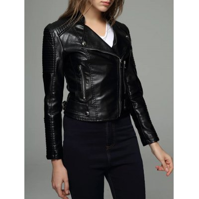 Zipper Design Embossed PU Leather Jacket