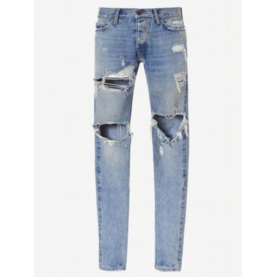 Zip Cuff Knee Hole Ripped Jeans