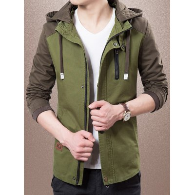 Detachable Hooded Zip-Up Colour Splicing Jacket