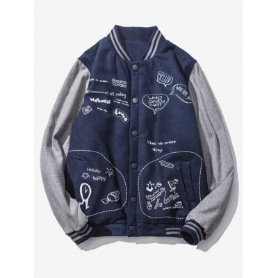 Scrawl Printed Button Up Baseball Jacket
