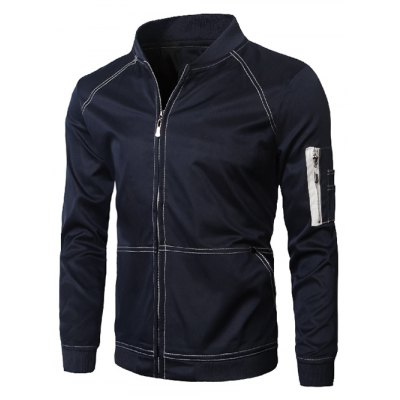 Stand Collar Suture Design Zip-Up Jacket