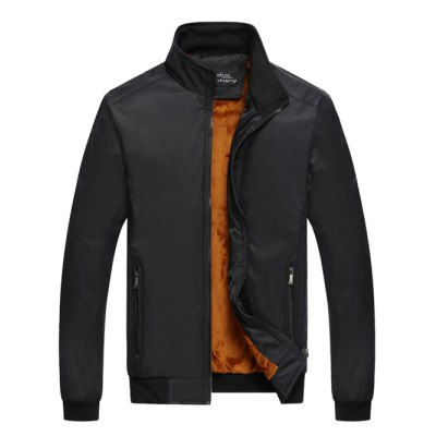 Stand Collar Zipper-Up Pocket Thermal Jacket