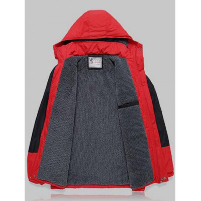 Color Block Detachable Hood Ski Jacket