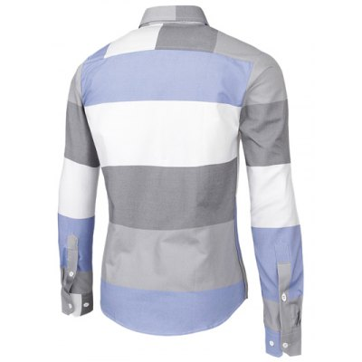 Contrast Color Striped Long Sleeve Shirt