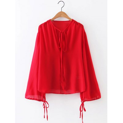 Long Sleeve Chiffon Tie Front  Blouse