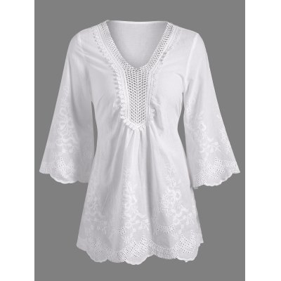 Openwork Flower Embroided Flare Sleeve Pleated Blouse