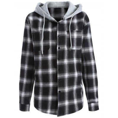 Hooded Loose Checked Shirt