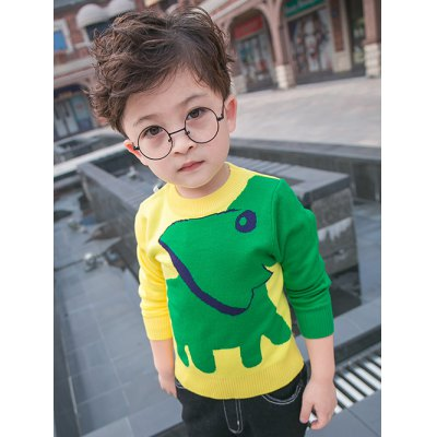 Kids Long Sleeve Elephant Jacquard Pullover Sweater
