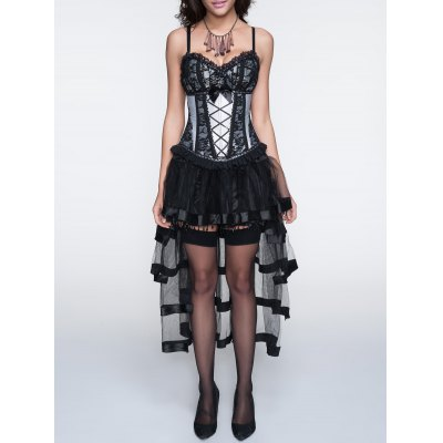 Cami Laciness Corset + Fringed Asymmetrical Skirt Twinset