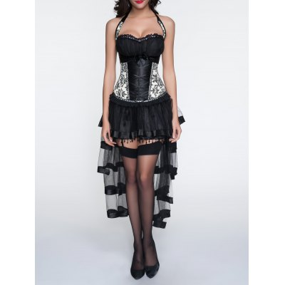 Halter Printed Corset + Fringed Asymmetrical Skirt Twinset