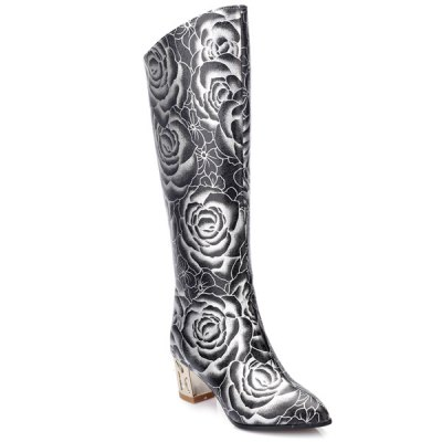 Floral Print Chunky Heel Boots