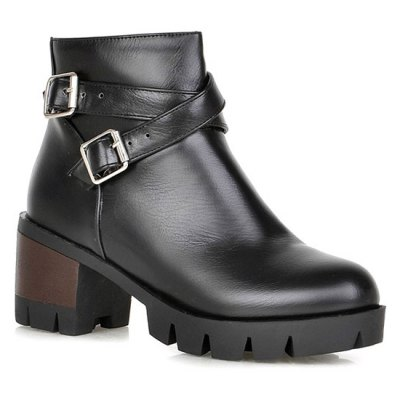 Double Buckle Cross Straps Ankle Boots