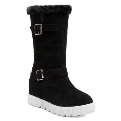 Double Buckles Hidden Wedge Snow Boots