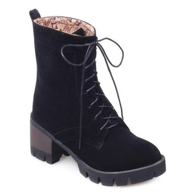 Mid Heel Lace-Up Combat Boots