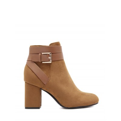 Buckle Chunky Heel Ankle Boots