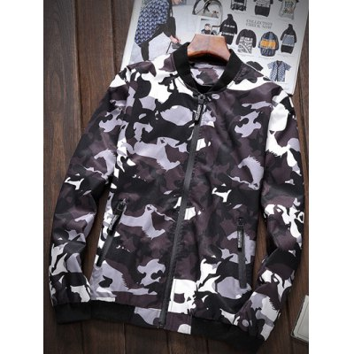 Zipper-Up Pocket Stand Collar Camouflage Jacket