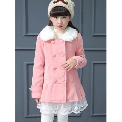 Floral Lace Splicing Double Breasted Petal Pan Collar Pleated Woolen Coat