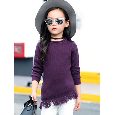 Round Collar Long Sleeve Fringe Wool Sweater